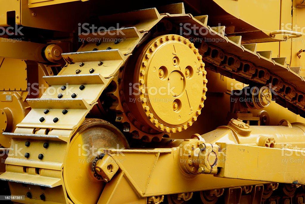 Heavy machinery painted in yellow  stock photo