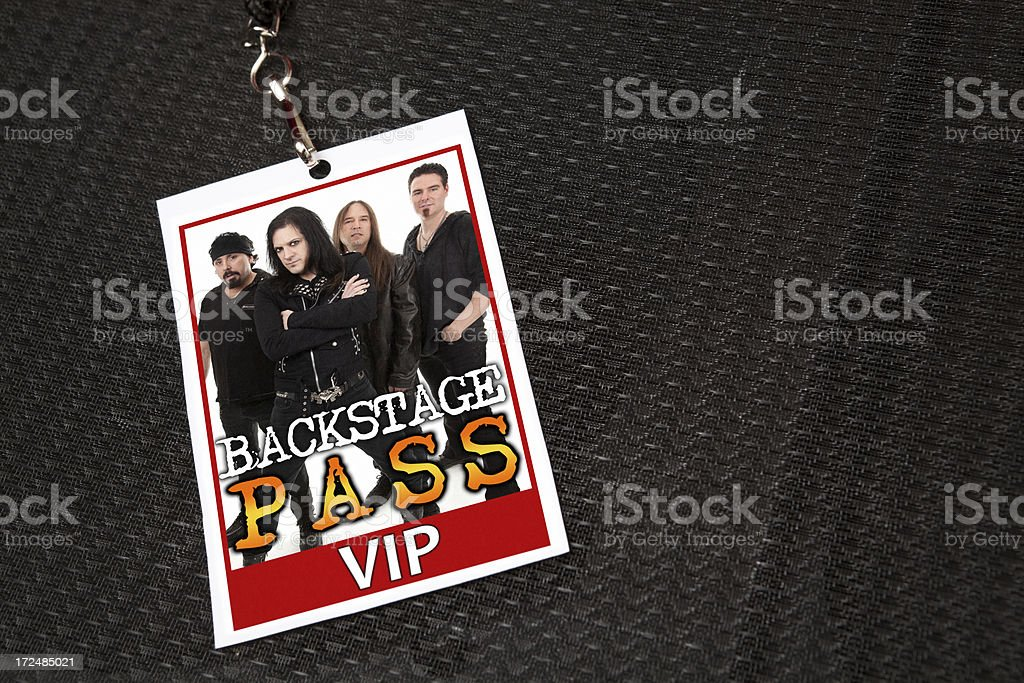 Heavy Metal Band Backstage Pass on Ampllifier stock photo