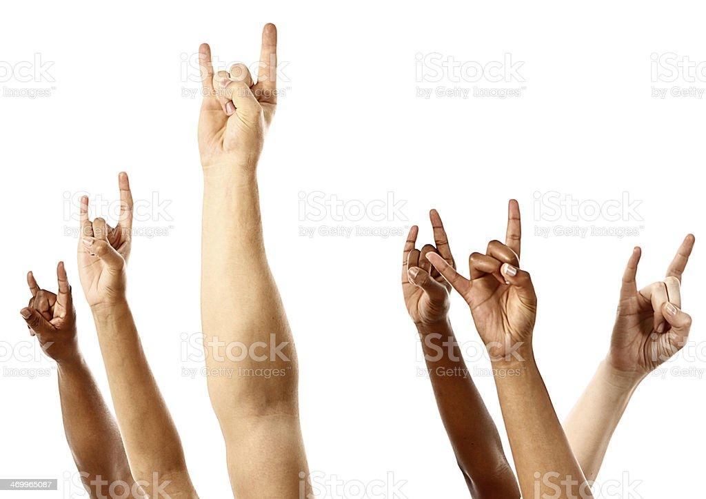 Heavy Metal Rockers Make Devil Horns Hand Sign On White Stock Photo