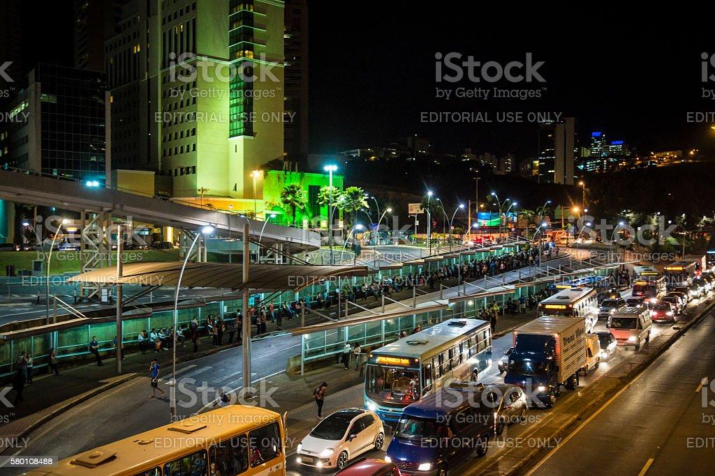 Heavy night traffic, Belo Horizonte, Minas Gerais, Brazil stock photo
