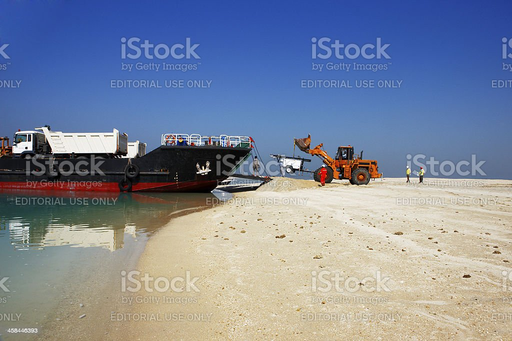 heavy plant has arrived in the desert stock photo