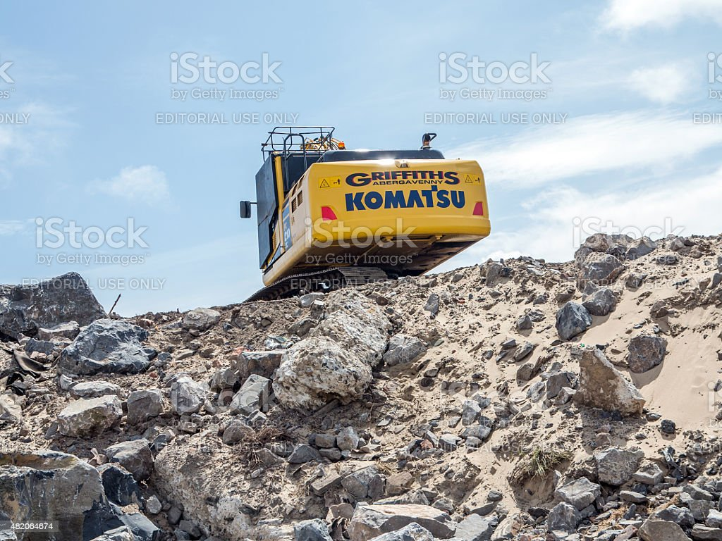 Heavy plant machinery moving earth stock photo