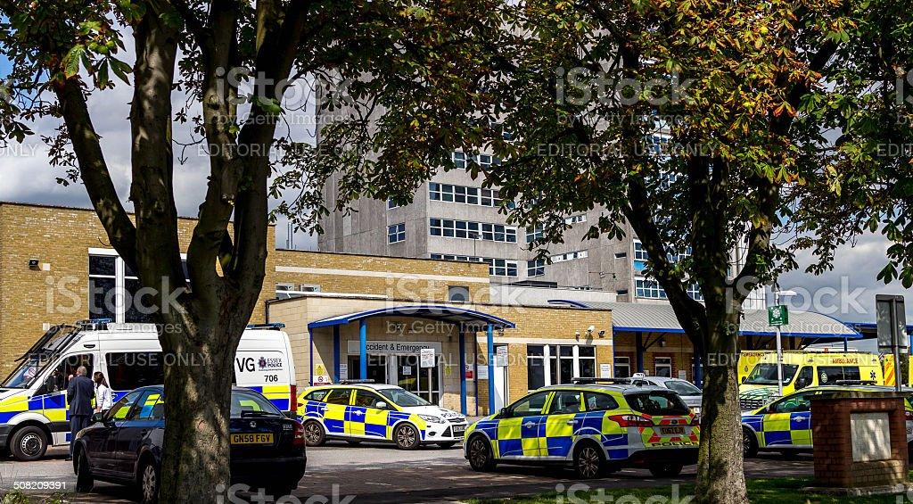 Heavy police presences at southend hospital. stock photo