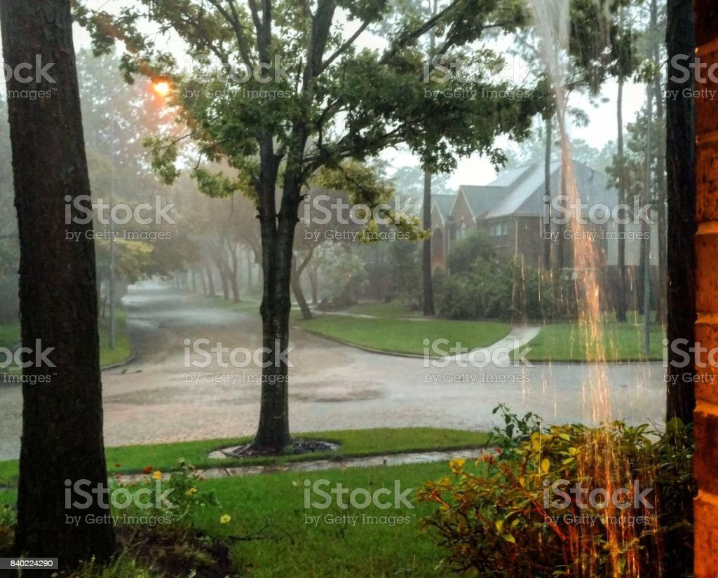 Heavy Rain and Flooding in Houston Suburb from Hurricane Harvey stock photo