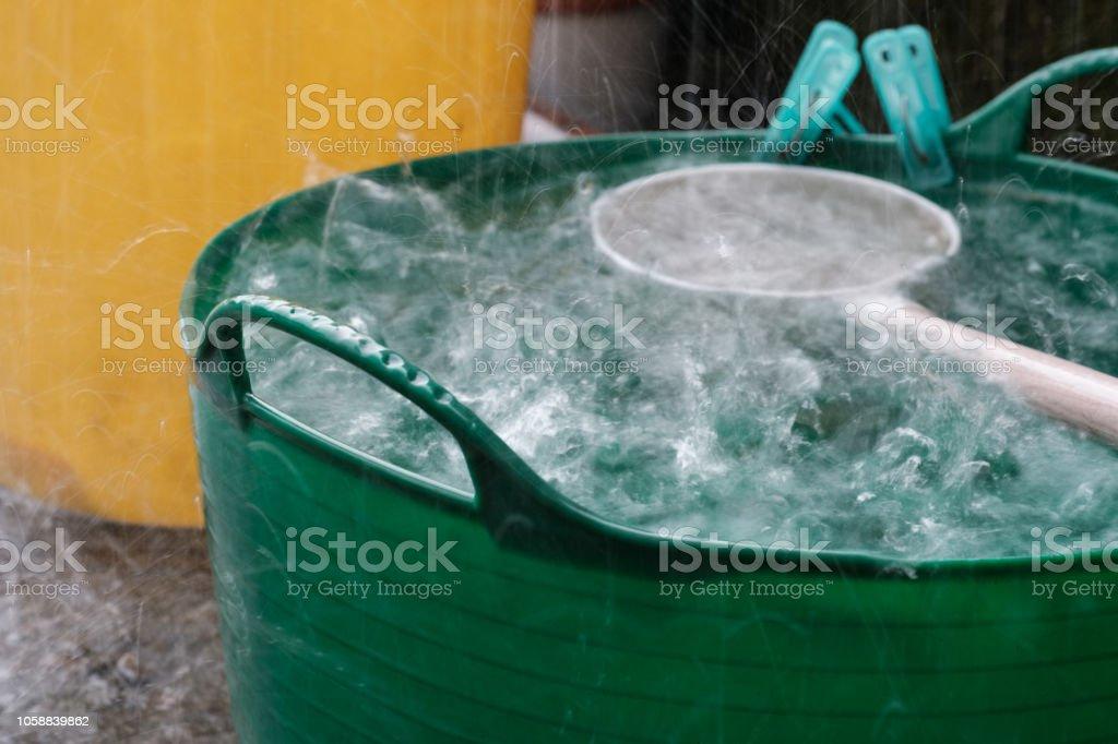 Heavy Rain and Splash in the Basket stock photo