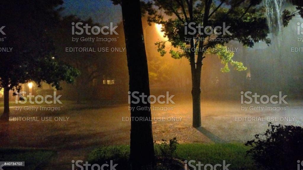 Heavy Rain at Night from Hurricane Harvey in Houston Texas stock photo