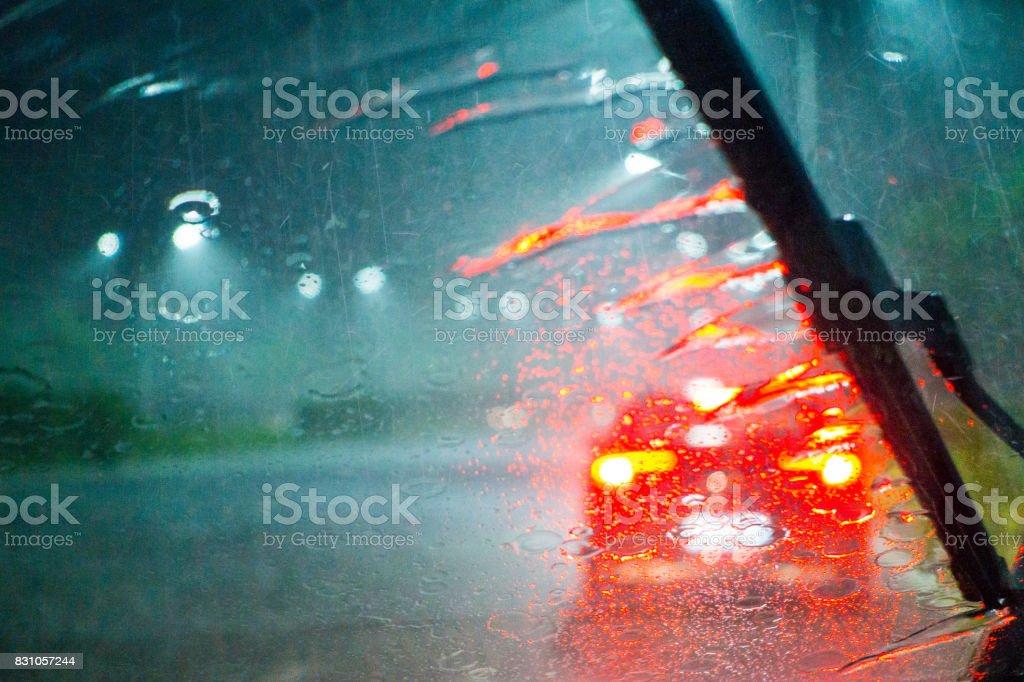 heavy rain at night stock photo