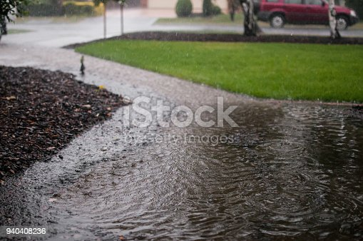 Heavy rain causing flooding and deep puddles