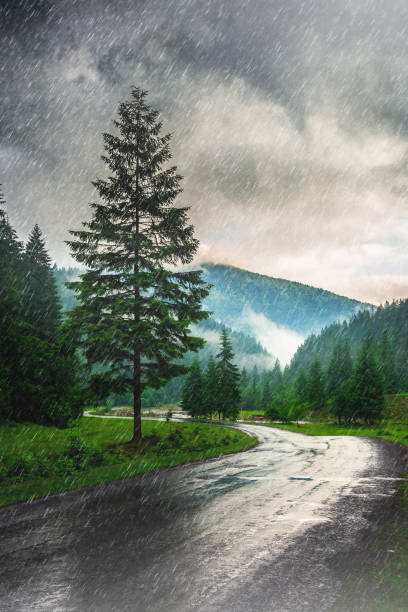 Heavy rain in the mountains stock photo