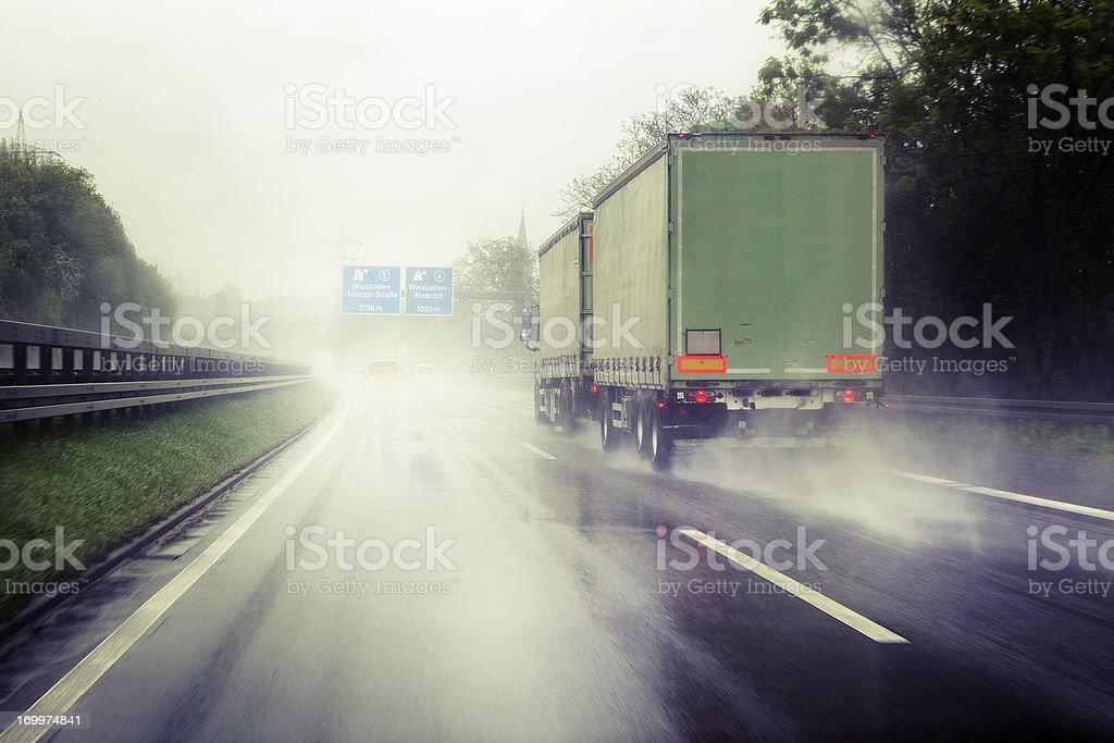 Heavy rain on German highway royalty-free stock photo