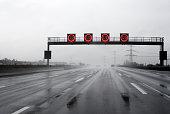 Heavy rain on the highway - speed limit