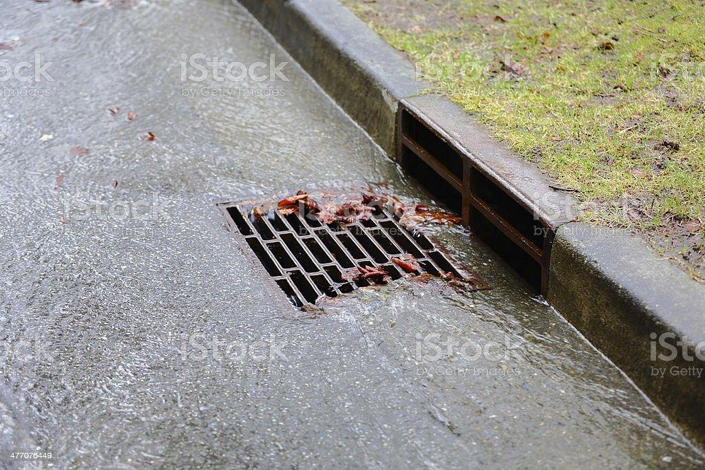Heavy Rain, Storm Drain stock photo