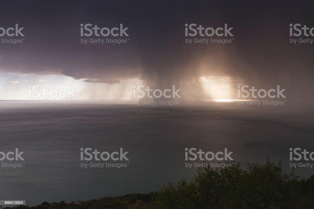 Heavy rain storm over the Adriatic sea stock photo
