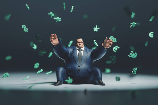 Heavy rich businessman and raining currencies Heavy rich businessman and raining currencies. greed stock pictures, royalty-free photos & images