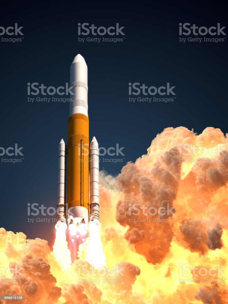 Heavy Rocket In The Clouds Of Fire stock photo