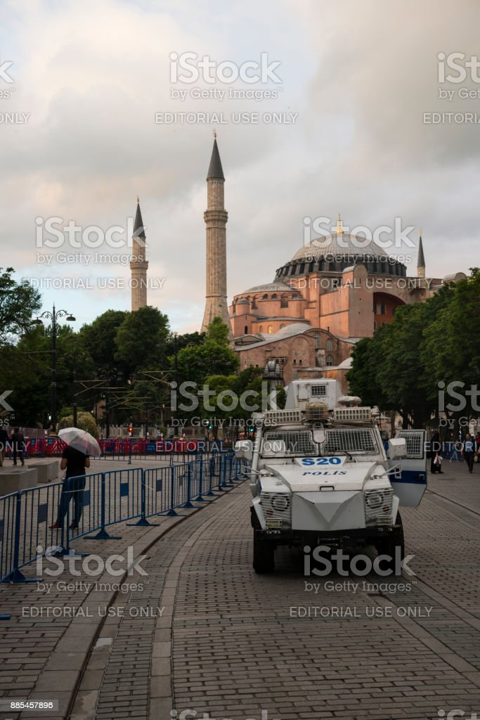Heavy security in Istanbul's Sultanahmet district stock photo