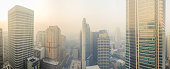November morning in the city covered with smoke from burning fires Sydney, Australia