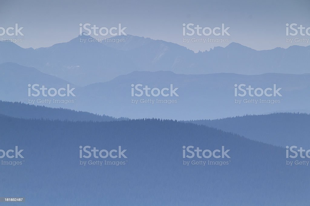 Heavy Smoke From Nearby Forest Fires Fills This Mountain View royalty-free stock photo