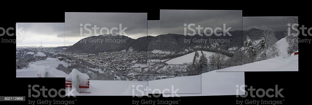Heavy snow over old city of Brasov. stock photo