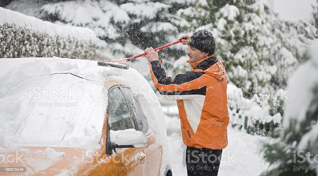 heavy snow storm stock photo