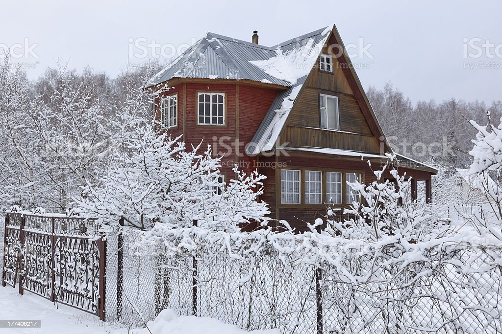Heavy snowfall at countryside house in Moscow region, Russia stock photo