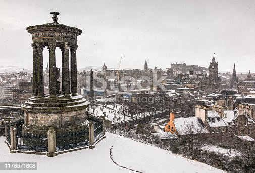 A view of Edinburgh's cityscape from Calton Hill, during heavy snowfall over the Scottish Capital.