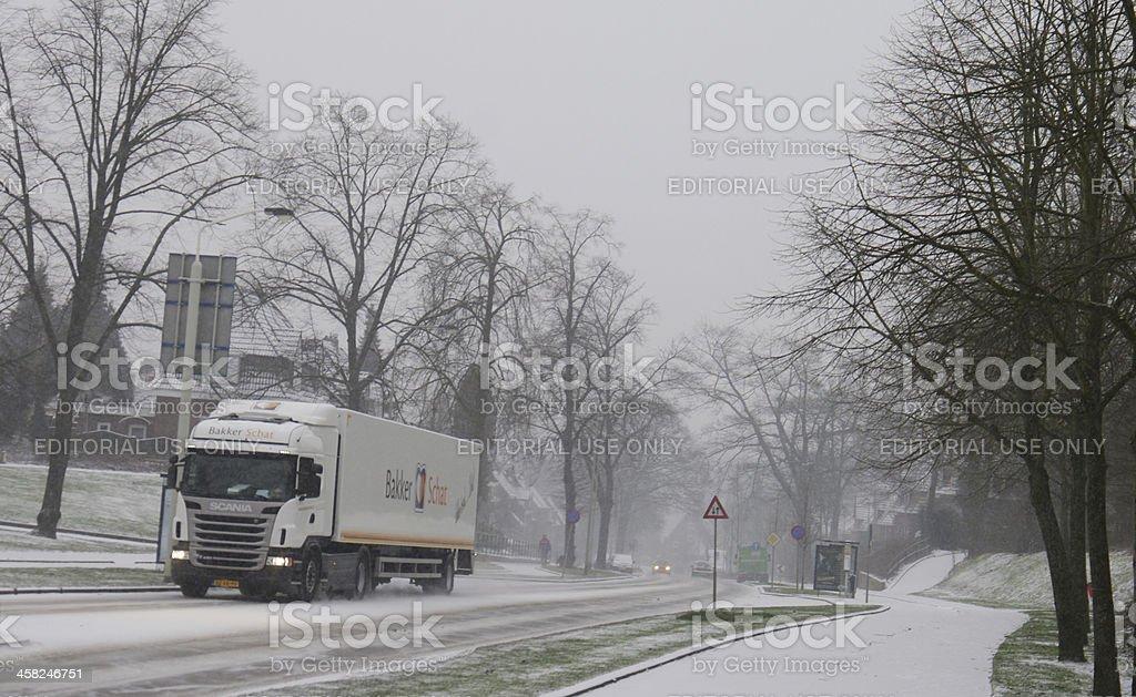 Heavy snowfall in Limburg royalty-free stock photo