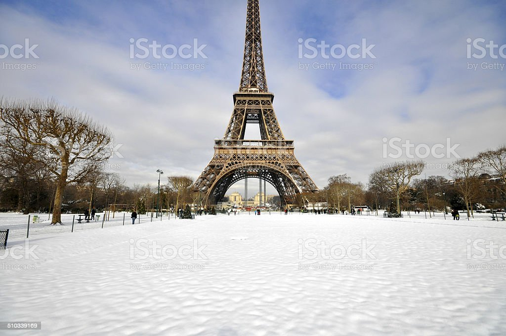 Heavy snowfall in Paris stock photo