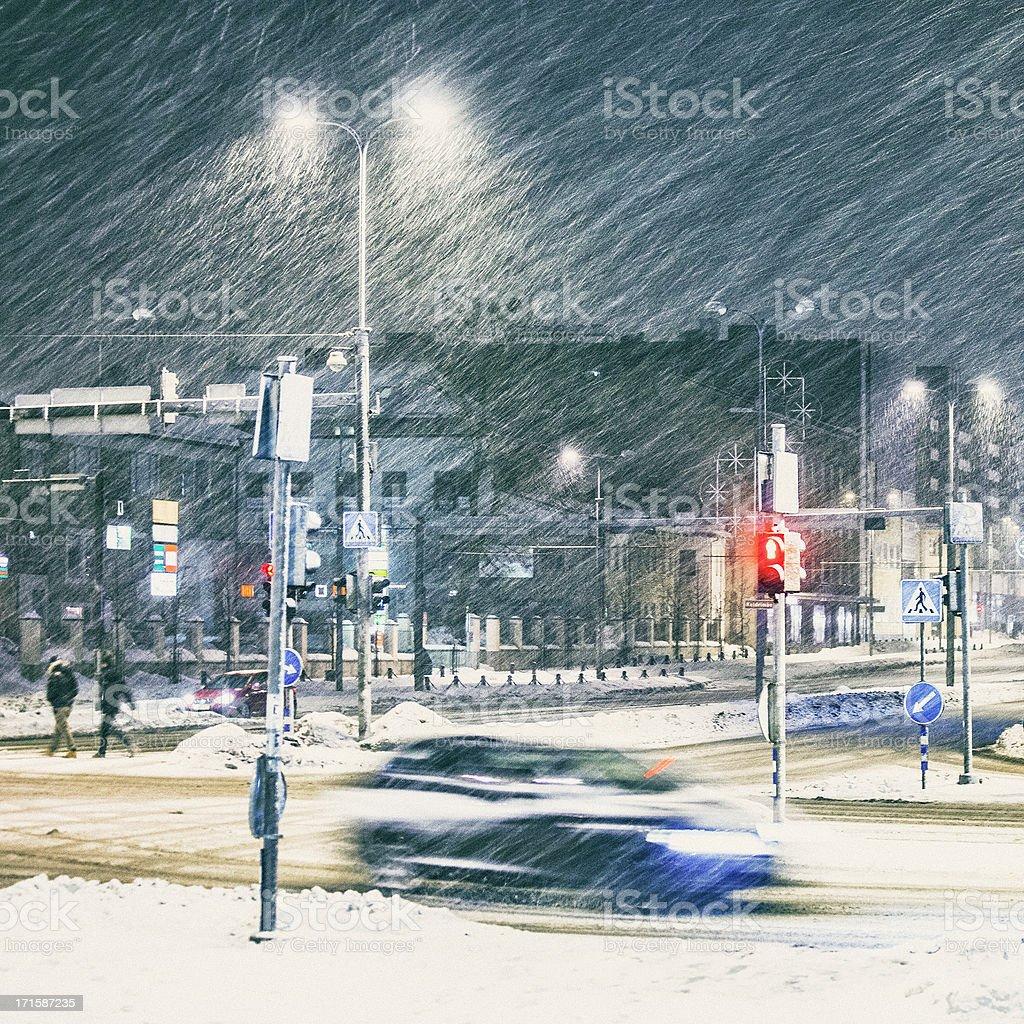 Heavy snowfall in town. stock photo