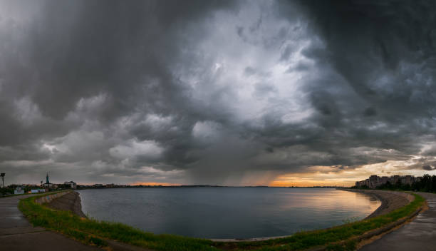 Heavy storm in Bucharest over Mill Lake stock photo