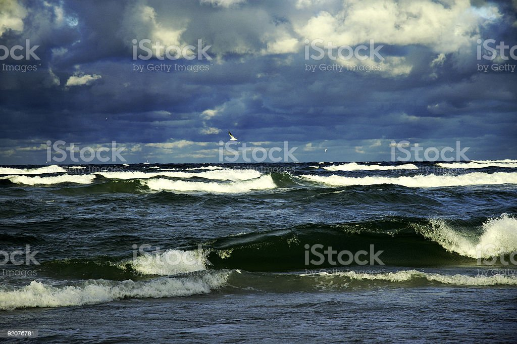 heavy, stormy sky and sea with big waves royalty-free stock photo