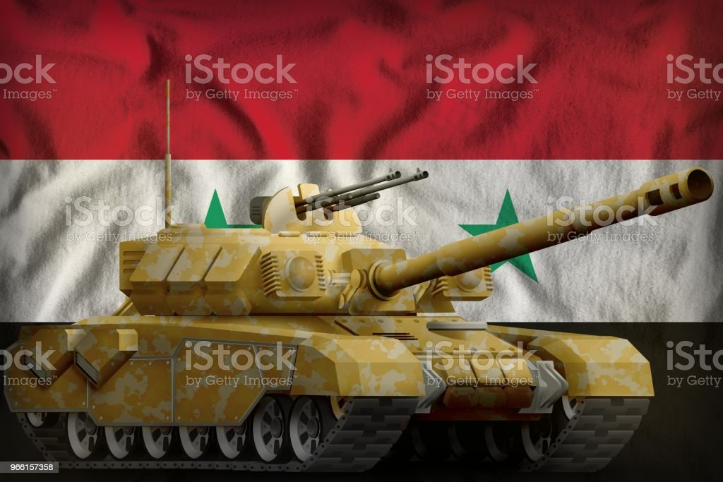 schwere Panzer mit Wüste Tarnung auf die Arabische Republik Syrien Nationalflagge Hintergrund. 3D illustration - Lizenzfrei Flagge Stock-Foto