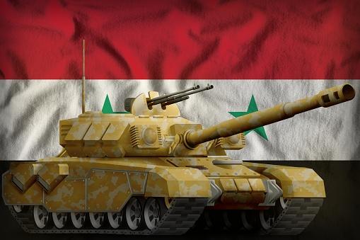 Schwere Panzer Mit Wüste Tarnung Auf Die Arabische Republik Syrien Nationalflagge Hintergrund 3d Illustration Stockfoto und mehr Bilder von Flagge