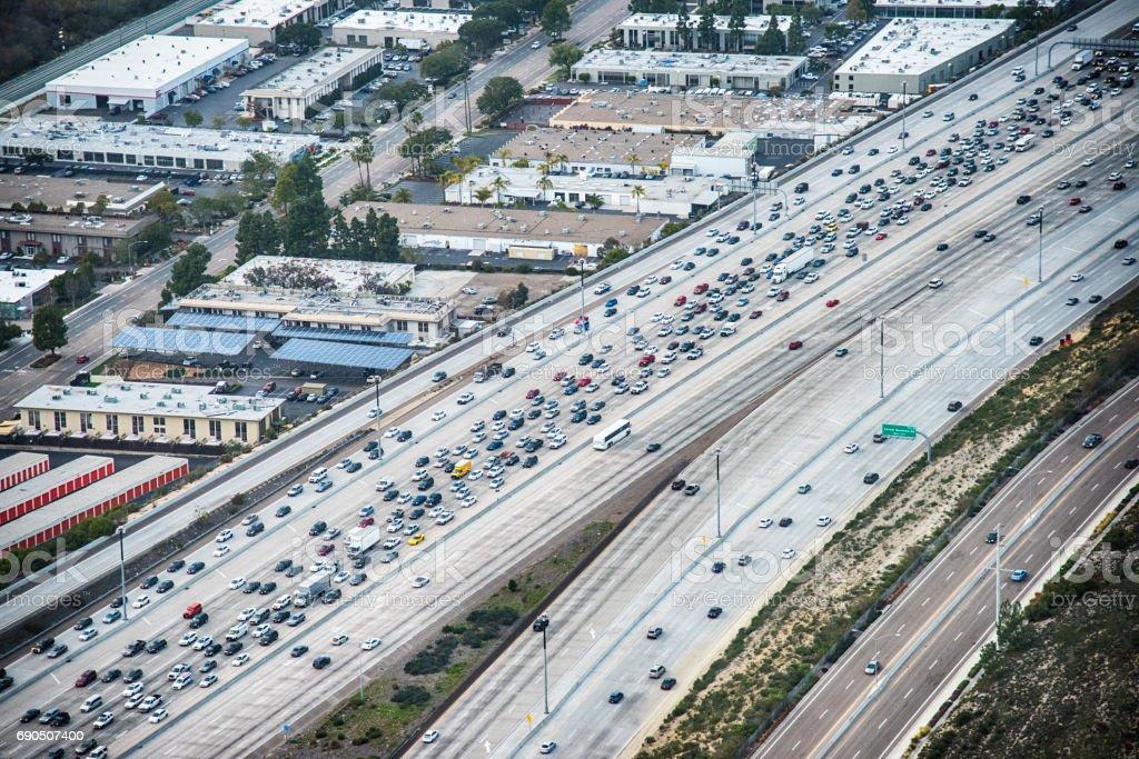 Heavy Traffic Aerial stock photo