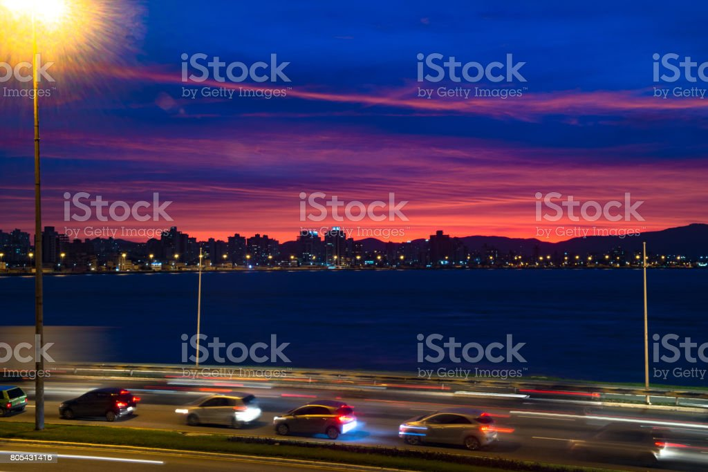 Heavy Traffic and a Spectacular Sunset stock photo