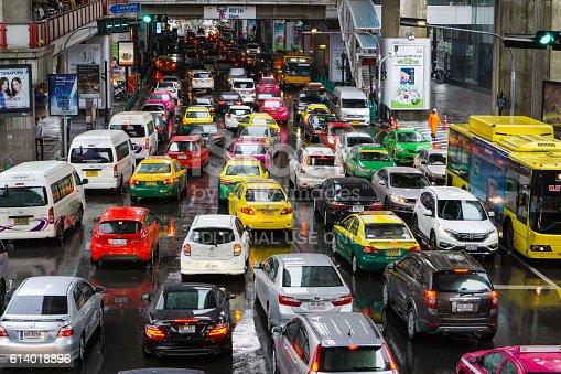Bangkok, Thailand- October 9,2016 :heavy traffic at Bts Siam Square. Bangkok ,Thailand.Bangkok is famous for its heavy traffic in the city centre.