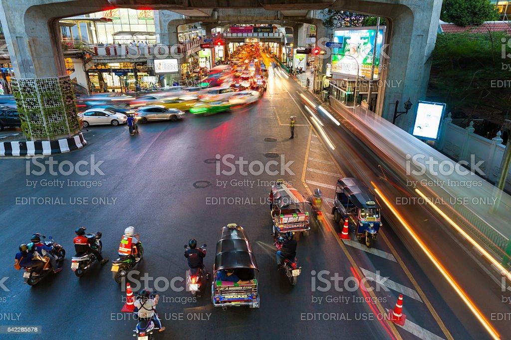 Heavy traffic at Siam Square, Bangkok, Thailand royalty-free stock photo