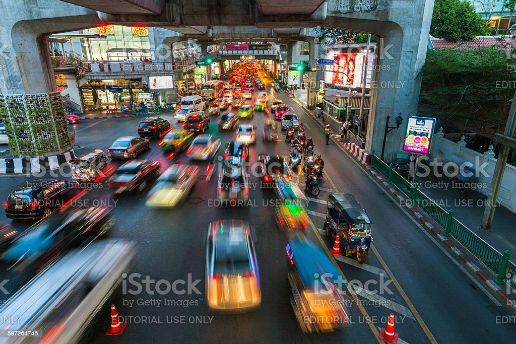 Heavy traffic at Siam Square, Bangkok, Thailand stock photo