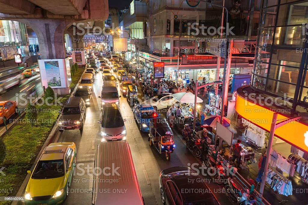 heavy traffic at Siam Square royalty-free stock photo