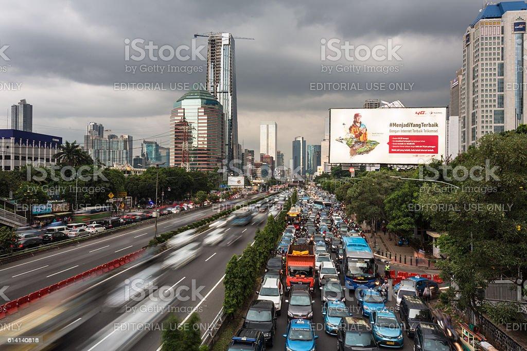 Heavy traffic in Jakarta stock photo