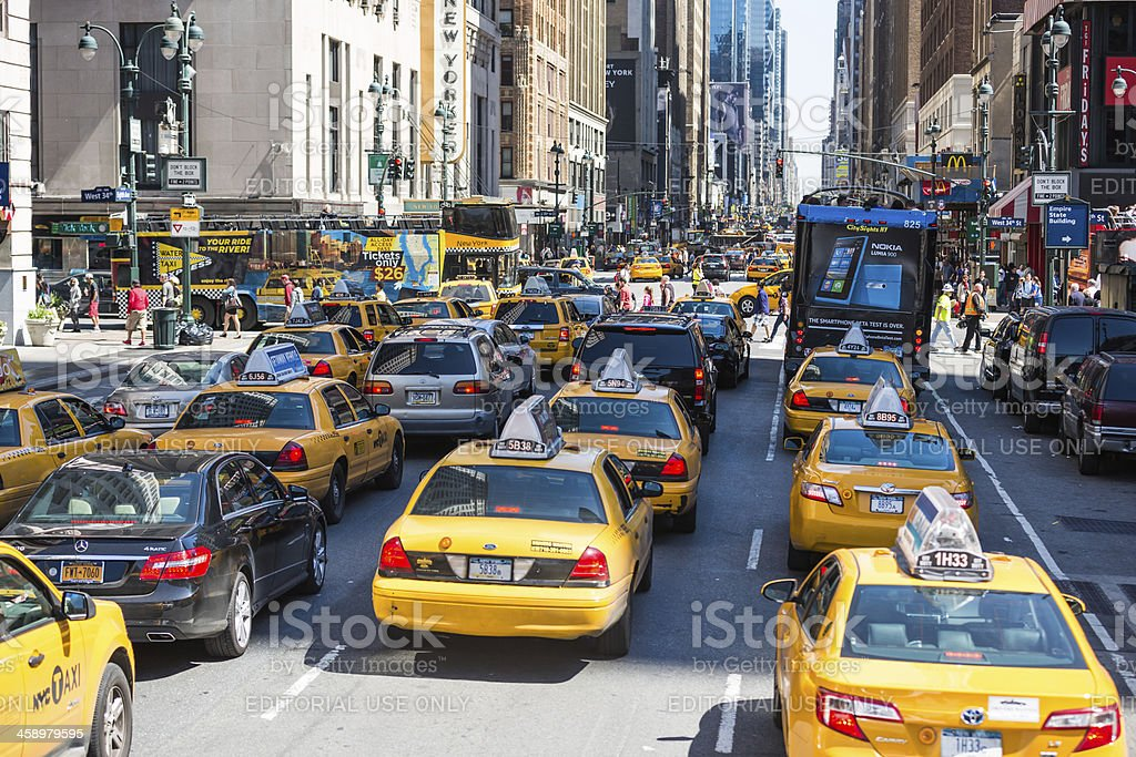 Heavy traffic on 8th Avenue in New York City, USA royalty-free stock photo