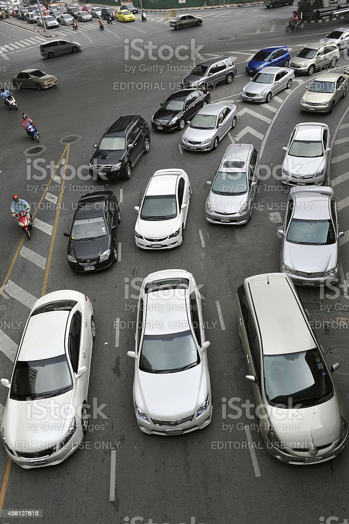 Heavy Traffic on a Busy Road royalty-free stock photo