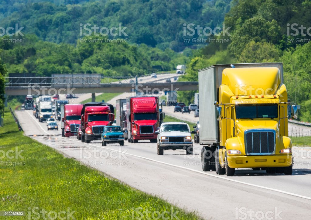 Heavy Traffic On An Interstate Highway stock photo