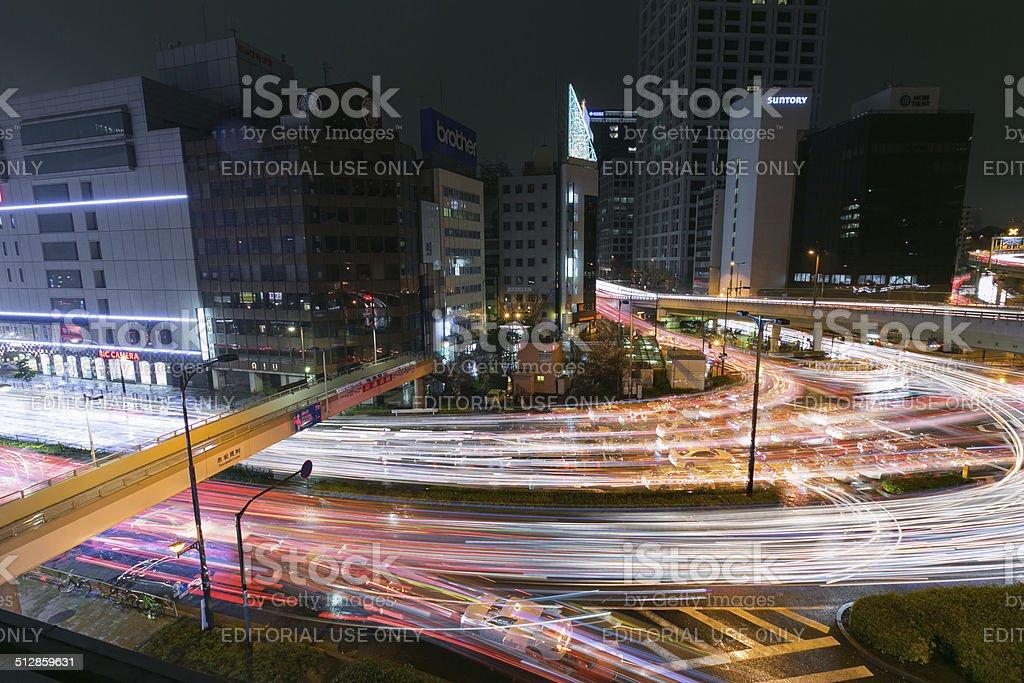 Heavy traffic on road junction of Akasakamitsuke, Ginza, Tokyo stock photo