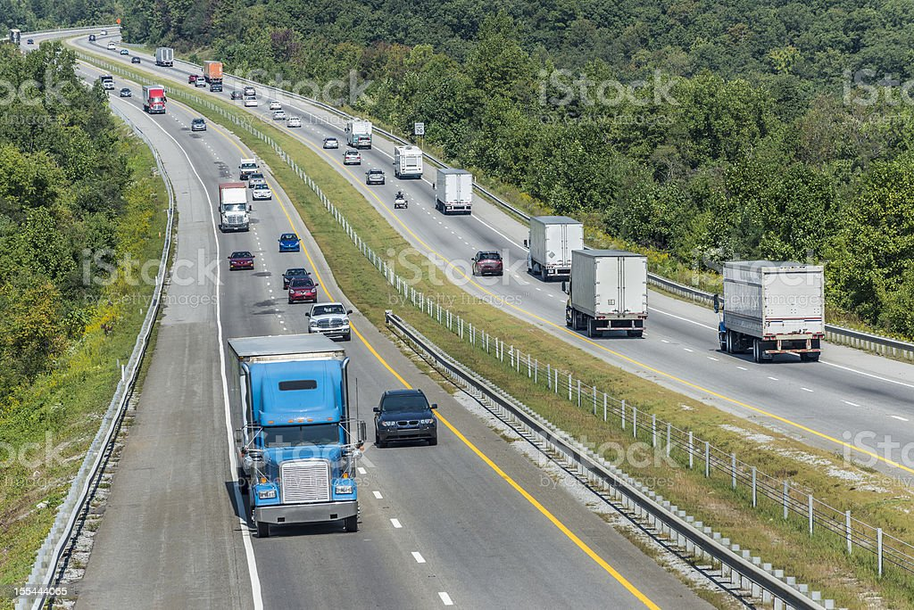 Heavy Traffic On The Interstate Highway royalty-free stock photo