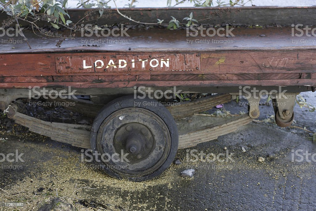 Old railway trailer designed to carry one ton royalty-free stock photo
