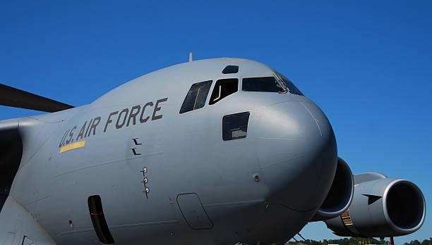 Heavy transport airplane stock photo