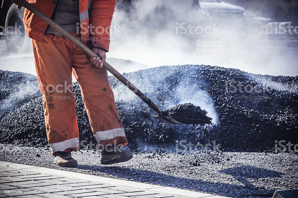 Heavy Vibration roller at asphalt pavement works stock photo