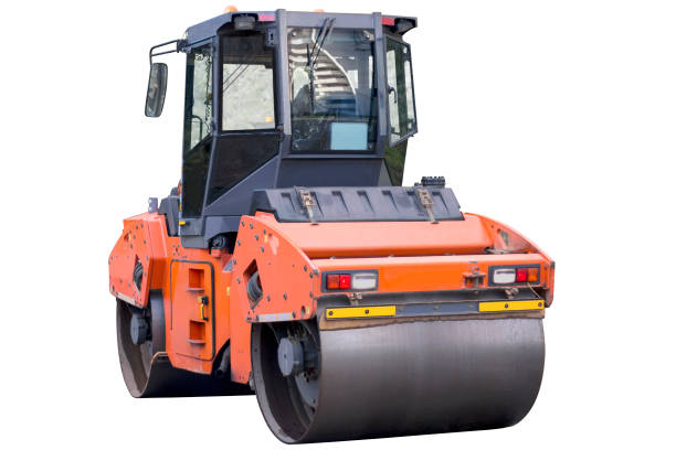 Heavy vibration roller compactor Heavy vibration roller compactor or road roller for building new road, compacting asphalt, isolated on white. Road construction, asphalt pavement works, renewal process compactor stock pictures, royalty-free photos & images