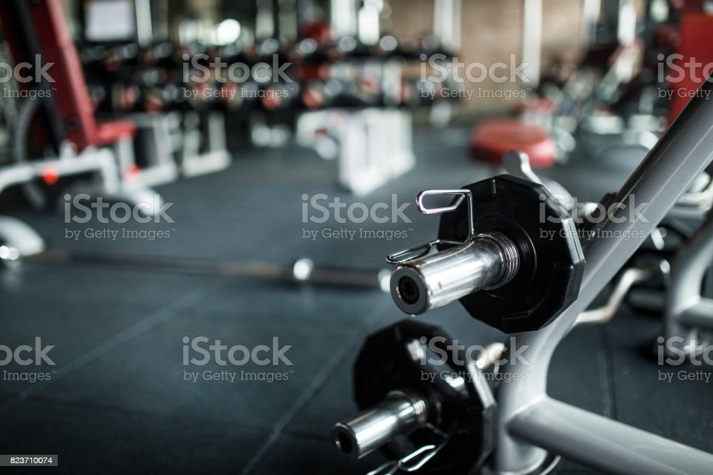 Heavy weights barbell in the fitness gym stock photo